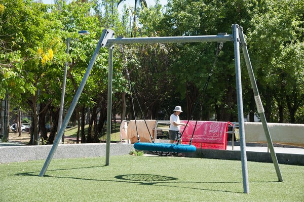 Zhongyan Park. The nest swing is one of kids' favorite facilities.